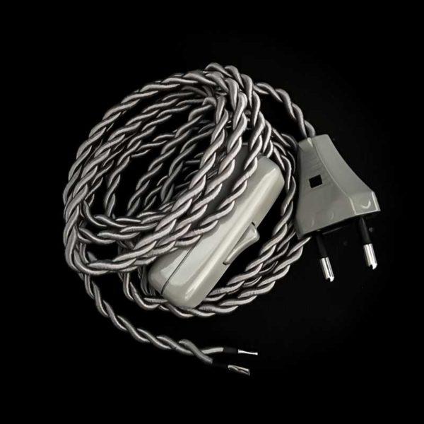 cordon-electrique-en-tissu-argent